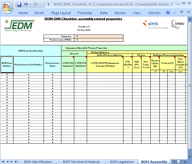 Bom Dfm Checklist Screenshot on Bom Bill Of Material Template