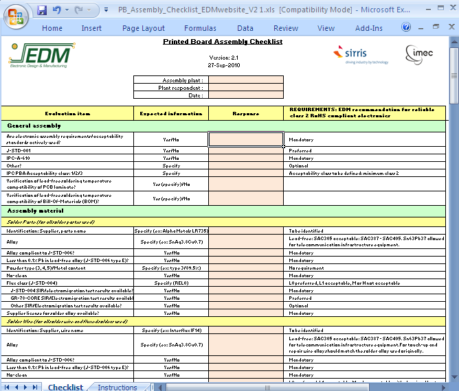 data center checklist template - printed board assembly checklist cedm